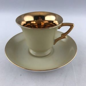 Lefton Hand Painted 1643 Demitasse Gold Cup Saucer